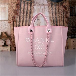 Chanel pink shopping tote bag